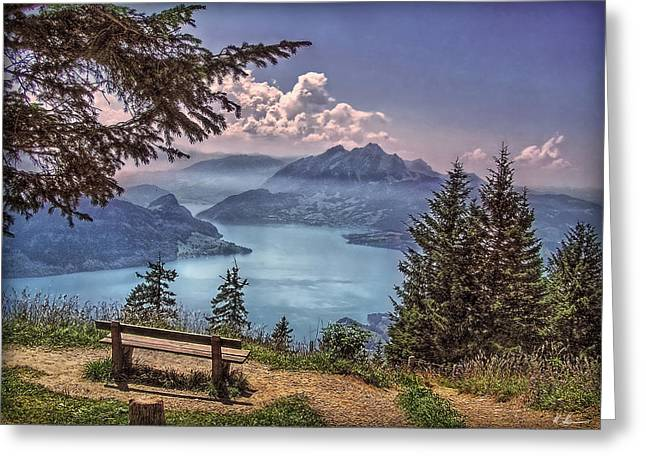 Outlook Greeting Cards - Wooden Bench Greeting Card by Hanny Heim