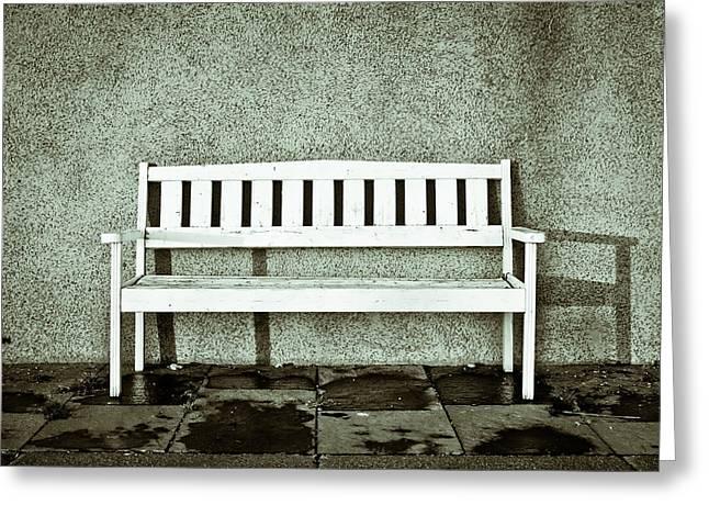Bleak Desert Greeting Cards - Wooden bench Greeting Card by Tom Gowanlock