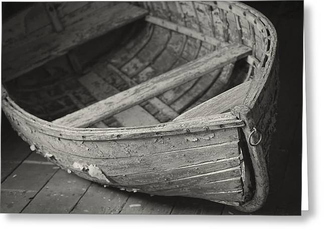 Wooden Boat Fading Away Greeting Card by Mary Lee Dereske
