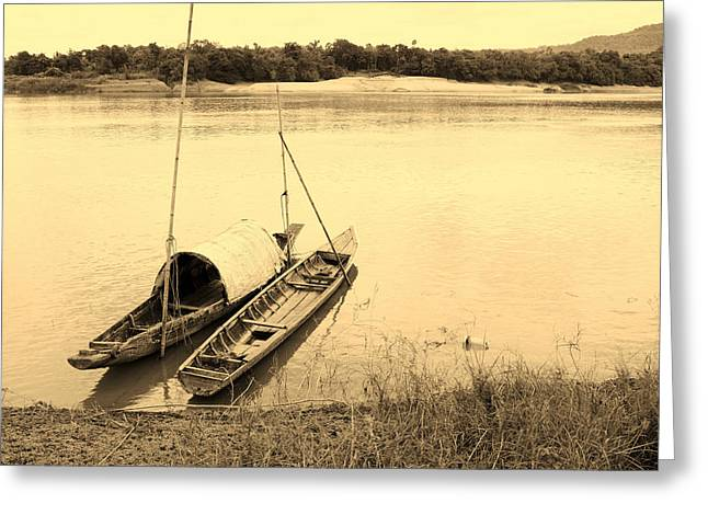 Row Boat Pyrography Greeting Cards - wooden boat on Mekong river Greeting Card by Thanapol Kuptanisakorn