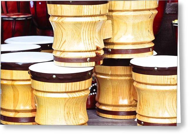 Stall Greeting Cards - Wooden bongos Greeting Card by Tom Gowanlock