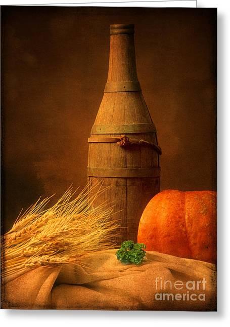 Bottle Photographs Greeting Cards - Wooden bottle Greeting Card by Bernard Jaubert