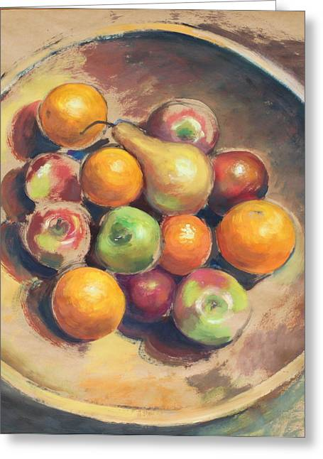 Wooden Bowls Paintings Greeting Cards - Wooden Bowl with Fruit Greeting Card by Brenda Sumpter