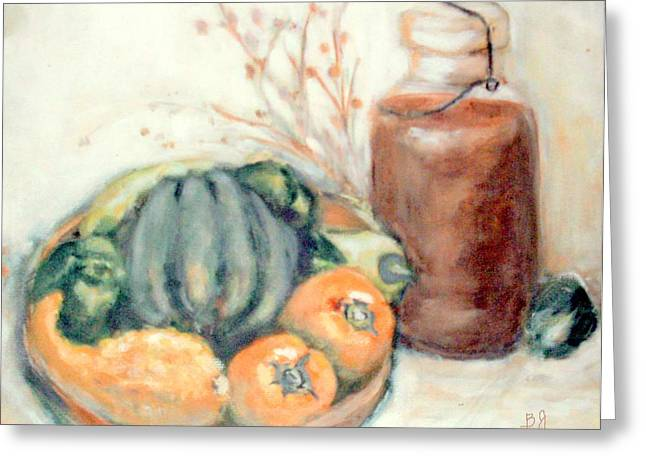 Wooden Bowls Paintings Greeting Cards - Wooden Bowl With Vegetables and Sweet Tea Greeting Card by Barbara LeMaster