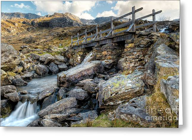 Stepping Stones Greeting Cards - Wooden Bridge Greeting Card by Adrian Evans