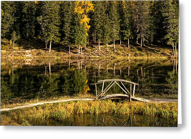Alto Greeting Cards - Wooden Bridge At Lago Antorno, Alto Greeting Card by Panoramic Images