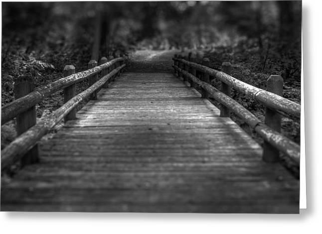 Dark Woods Greeting Cards - Wooden Bridge Greeting Card by Scott Norris