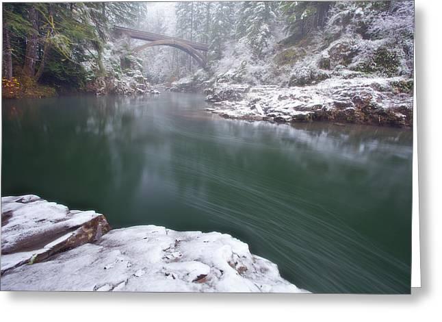 Wooden Bridges Greeting Cards - Wooden Bridge Snow Greeting Card by Darren  White