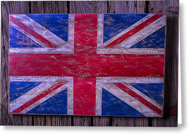Saint George Greeting Cards - Wooden British Flag Greeting Card by Garry Gay