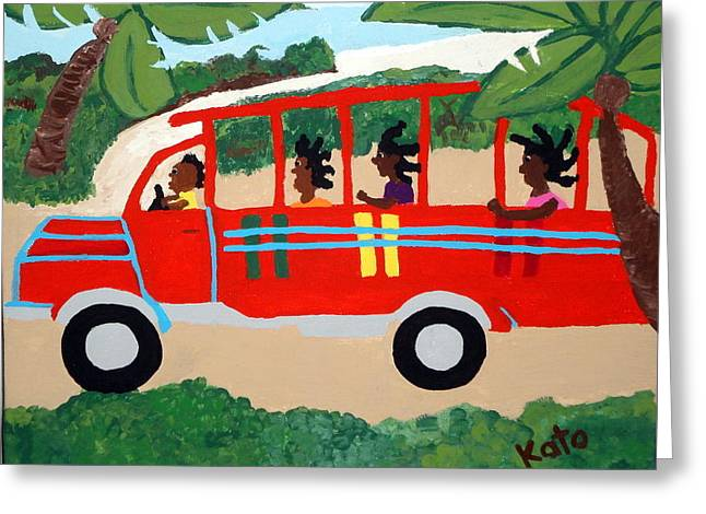 Recently Sold -  - Watermelon Greeting Cards - Wooden Bus to Town Greeting Card by Kato Charles