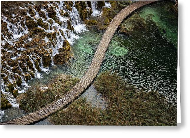 Wooden Catwalk By Waterfalls Greeting Card by Evgeny Govorov