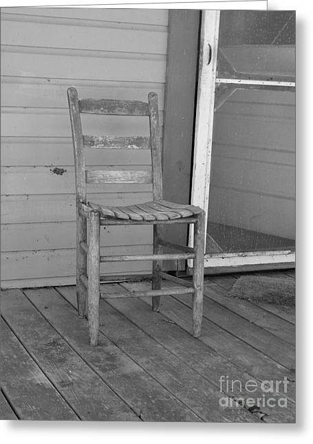 Print Photographs Greeting Cards - Wooden Chair Black and White Greeting Card by D Hackett