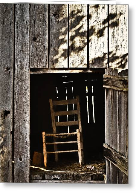 Hayloft Greeting Cards - Wooden Chair in Loft 2 Greeting Card by Greg Jackson