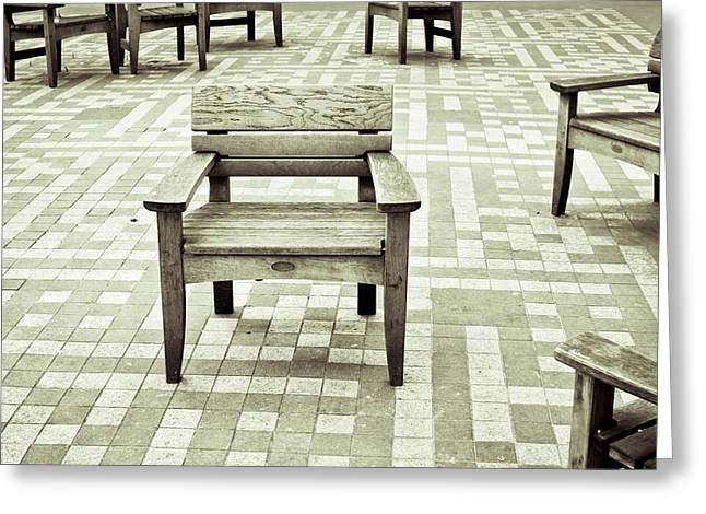 Muted Greeting Cards - Wooden chairs Greeting Card by Tom Gowanlock