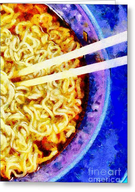 Noodles Paintings Greeting Cards - Wooden chopsticks in noodle painting Greeting Card by Magomed Magomedagaev