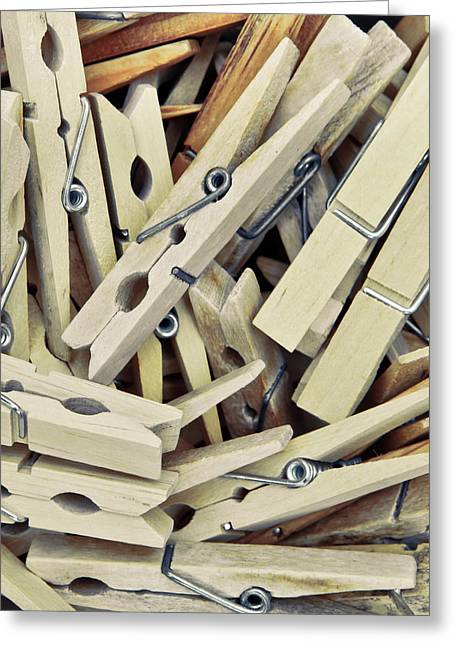 Clamps Greeting Cards - Wooden clothes pegs Greeting Card by Tom Gowanlock