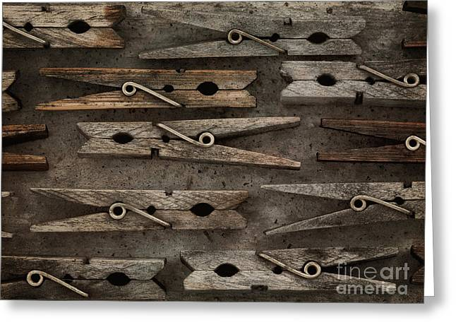 Cloth Greeting Cards - Wooden Clothespins Greeting Card by Priska Wettstein