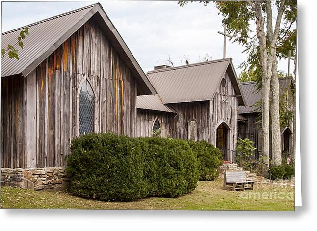 The Wooden Cross Greeting Cards - Wooden Country Church Greeting Card by Bob Phillips