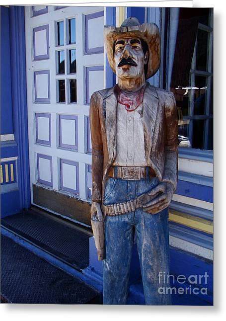 Wooden Sculpture Greeting Cards - Wooden Cowboy Greeting Card by Eva Kato