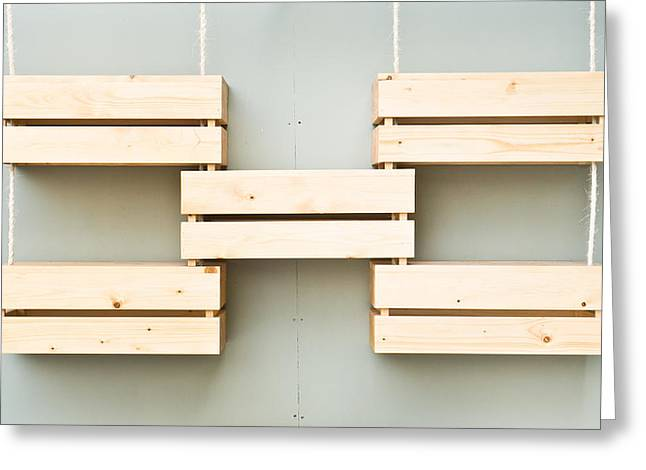 Shelving Greeting Cards - Wooden crates Greeting Card by Tom Gowanlock
