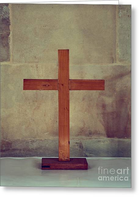 The Wooden Cross Greeting Cards - Wooden Cross Greeting Card by Shaun Wilkinson