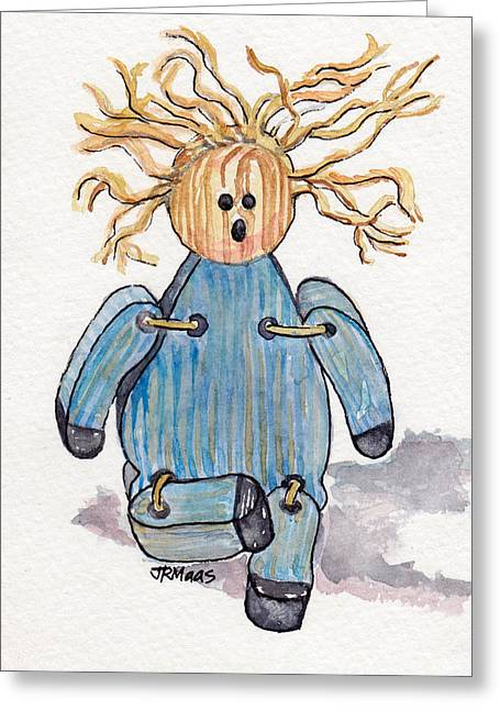 Straps Paintings Greeting Cards - Wooden Doll Greeting Card by Julie Maas