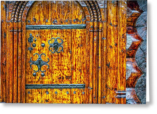 Lacquer Greeting Cards - Wooden door Greeting Card by Alexey Stiop