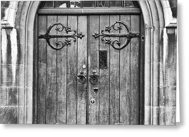 Wooden Door at Tower Hill BW Greeting Card by Christi Kraft