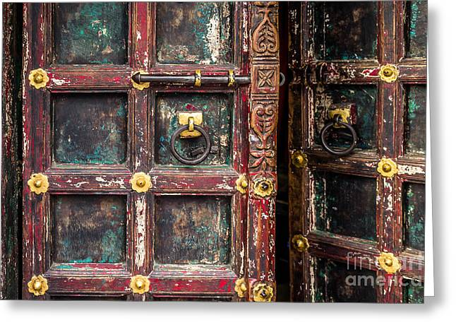 Harem Photographs Greeting Cards - Wooden door Greeting Card by Catherine Arnas