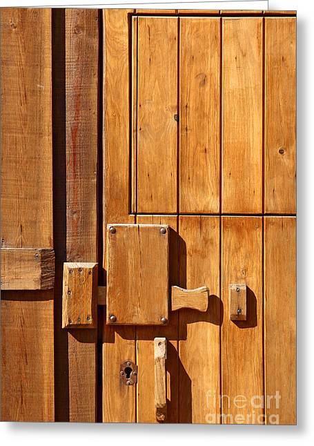 Shack Greeting Cards - Wooden door detail Greeting Card by Carlos Caetano