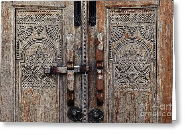 Door Hinges Greeting Cards - Wooden Door  Greeting Card by Ivy Ho