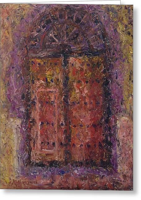 Khalid Alzayani Greeting Cards - Wooden Door Greeting Card by Khalid Alzayani