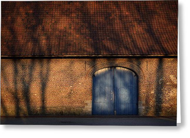 Entrance Door Greeting Cards - Wooden door of old house Greeting Card by TouTouke A Y