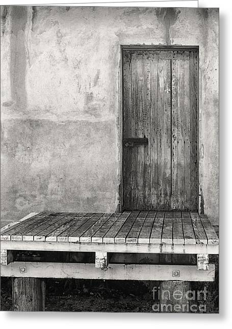 Wooden Platform Greeting Cards - Wooden door on the loading dock Greeting Card by Wendy Townrow