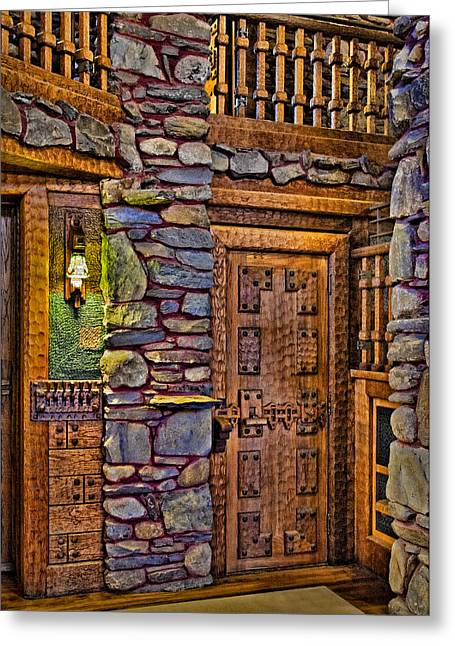 Woodcarving Greeting Cards - Wooden Door Greeting Card by Susan Candelario