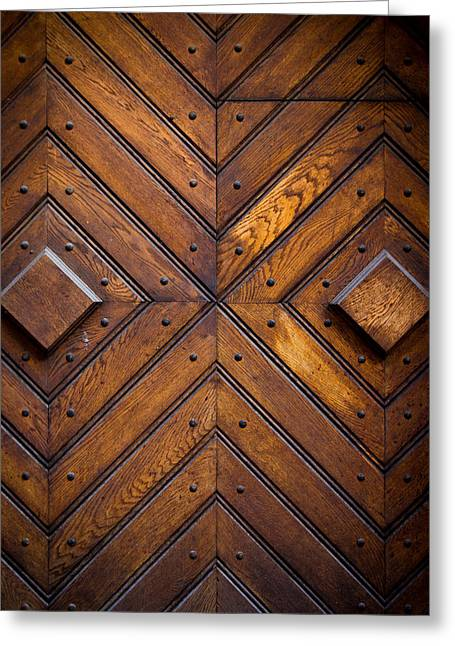 Wooden Doors Greeting Card by Pati Photography