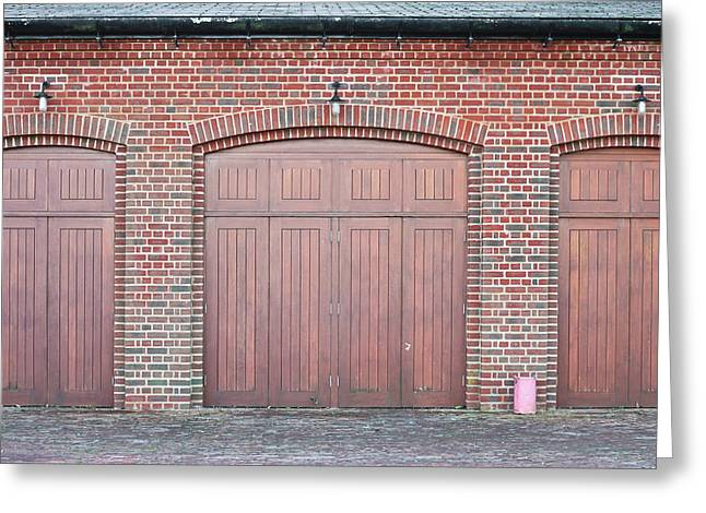 Industrial Background Greeting Cards - Wooden doors Greeting Card by Tom Gowanlock