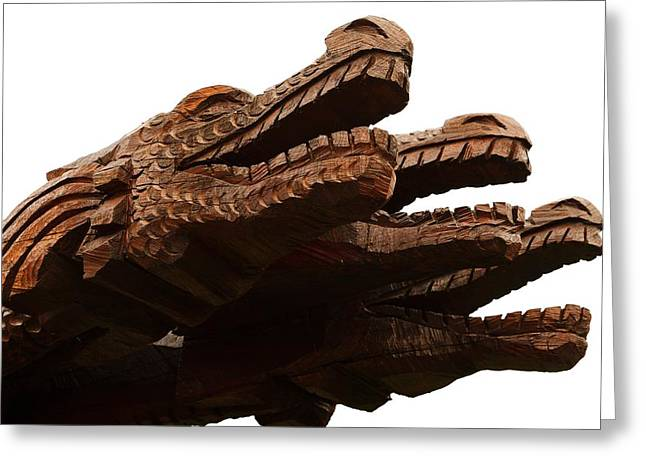Wooden Sculpture Greeting Cards - Wooden Dragon heads Greeting Card by FL collection