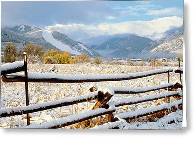 Pasture Scenes Greeting Cards - Wooden Fence Covered With Snow Greeting Card by Panoramic Images