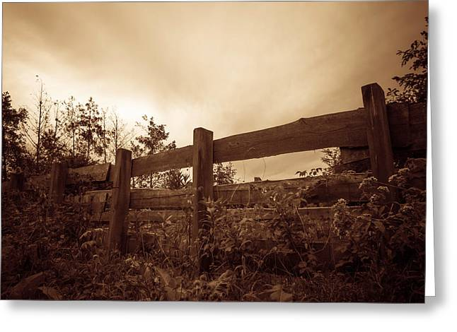 Brown Toned Art Greeting Cards - Wooden Fence Greeting Card by Wim Lanclus