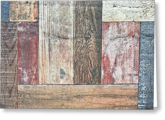 Dark Wood Table Greeting Cards - Wooden floor Greeting Card by Tom Gowanlock