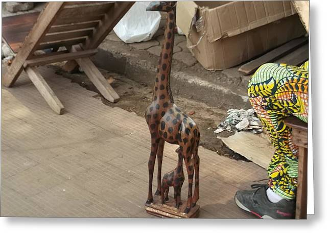 Travel Sculptures Greeting Cards - Wooden Giraffe Greeting Card by Hilary Bime