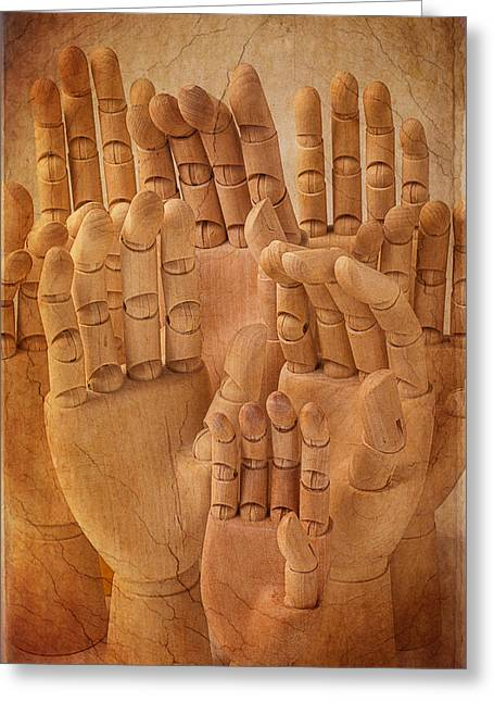 More Ideas Greeting Cards - Wooden Hands Greeting Card by Garry Gay