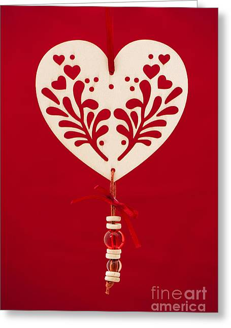 Festivities Greeting Cards - Wooden Heart Greeting Card by Anne Gilbert