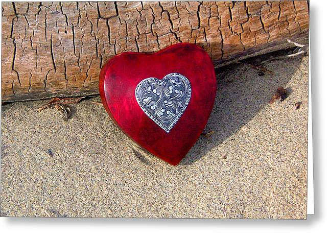 Press Box Greeting Cards - Wooden Heart Greeting Card by Art Block Collections