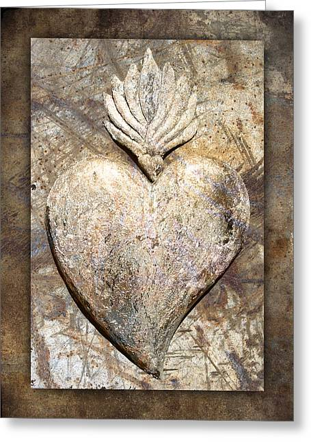 Rectangles Digital Art Greeting Cards - Wooden Heart Greeting Card by Carol Leigh
