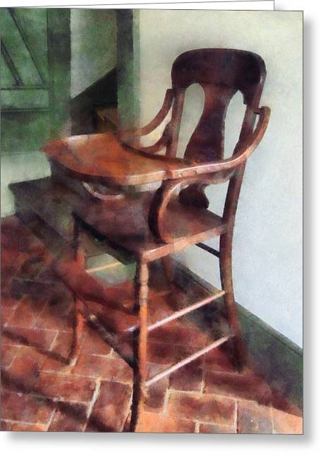 Bricks Greeting Cards - Wooden High Chair Greeting Card by Susan Savad