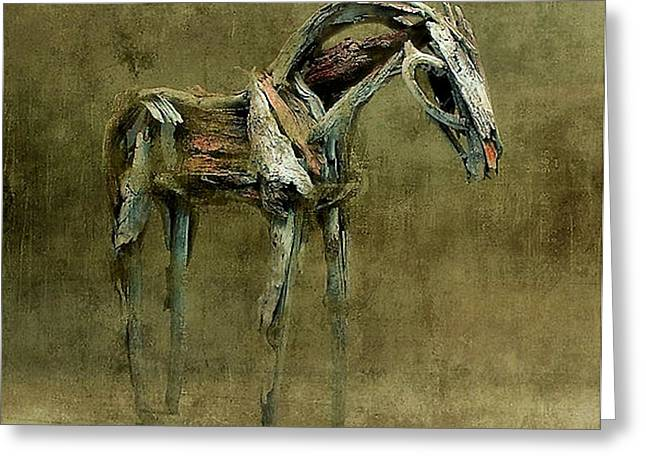 Wooden Sculpture Digital Art Greeting Cards - Wooden Horse Greeting Card by James Stough