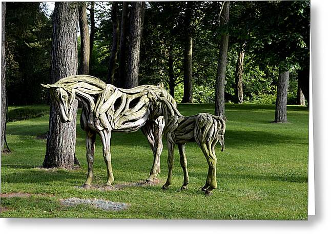 Wooden Sculpture Digital Art Greeting Cards - Wooden Horses in the Woods Greeting Card by Richard Ortolano
