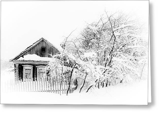 First Snow Greeting Cards - Wooden House after Heavy Snowfall 1. Russia Greeting Card by Jenny Rainbow